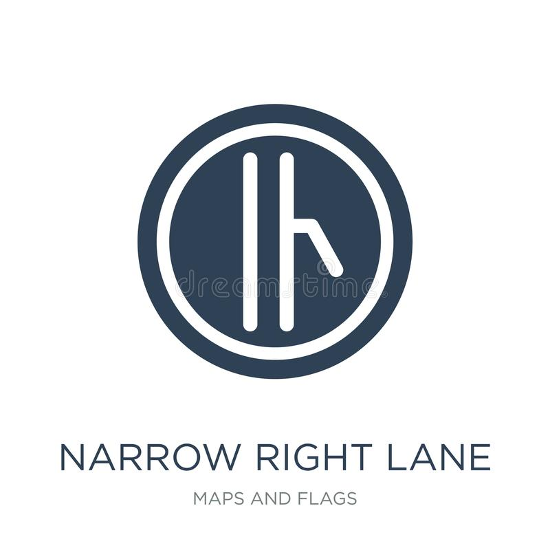 narrow right lane icon in trendy design style. narrow right lane icon isolated on white background. narrow right lane vector icon stock illustration