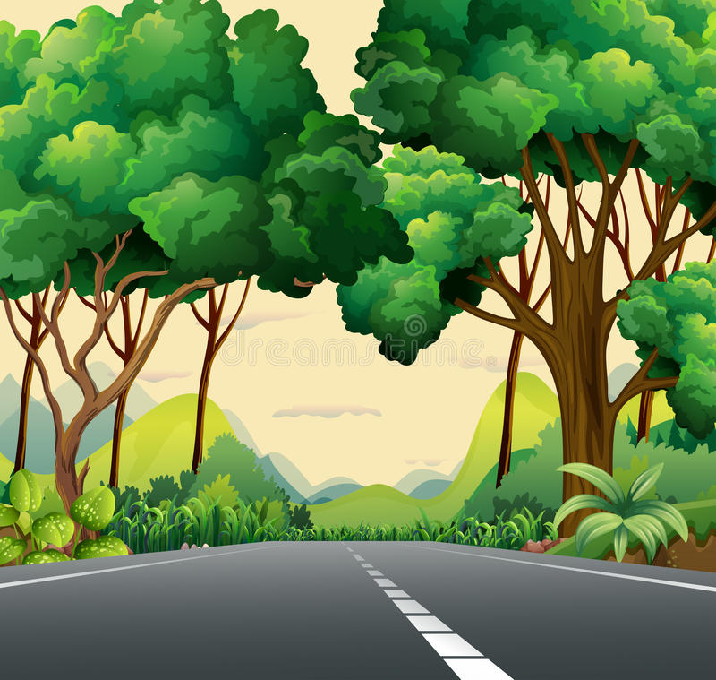A narrow road. Surrounded with plants stock illustration