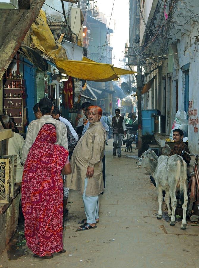 Narrow road at Varanasi stock photo