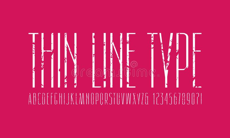 Narrow sans serif font. Thin line typeface. Letters and numbers with rough texture for logo and title design. White print on pink background stock illustration