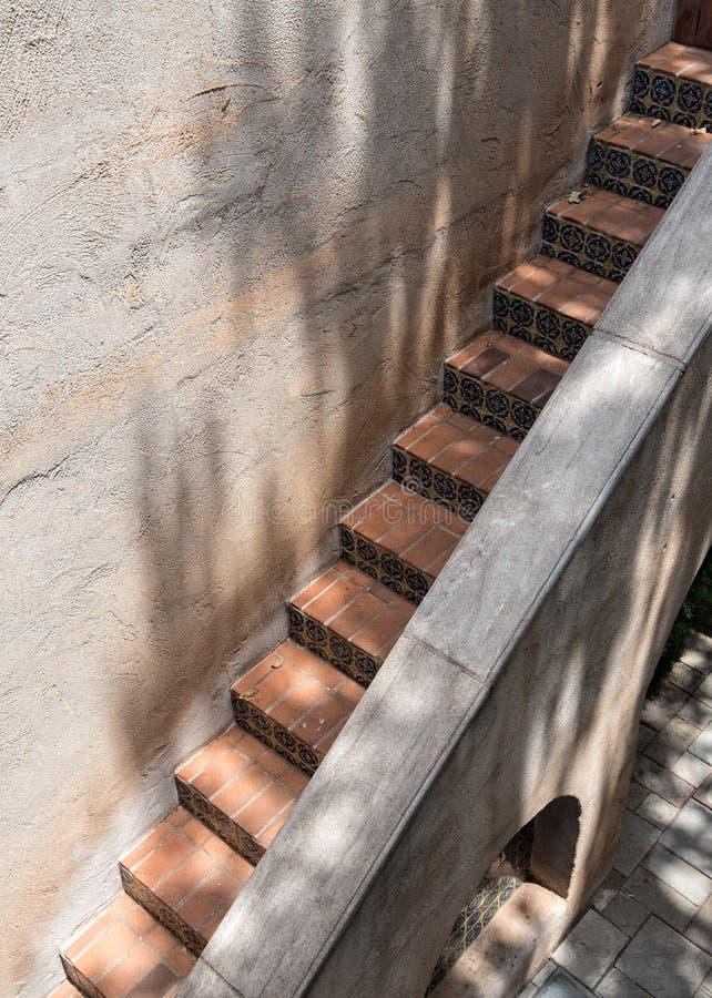 Narrow stairway, Tlaquepaque in Sedona, Arizona. Old Mexico architecture, Tlaquepaque Village in Sedona, Arizona royalty free stock photos