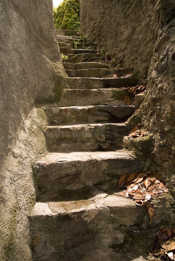 Narrow, steep steps stock photos