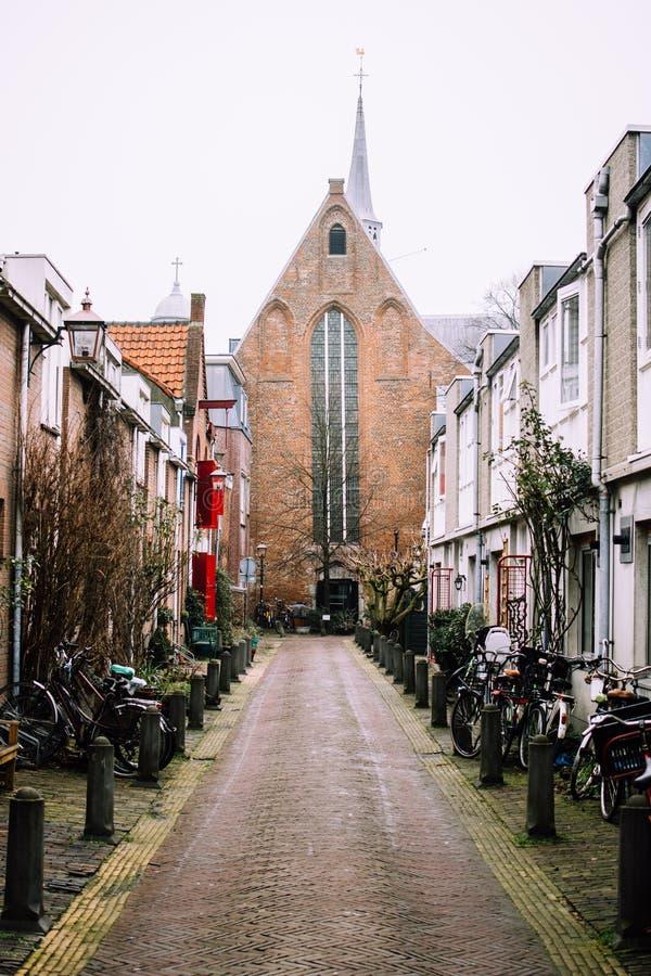 Narrow stenlagd gränd i en traditionell Holland grannskap i Haarlem, Nederländerna Bricked domkyrkabyggnad arkivbild