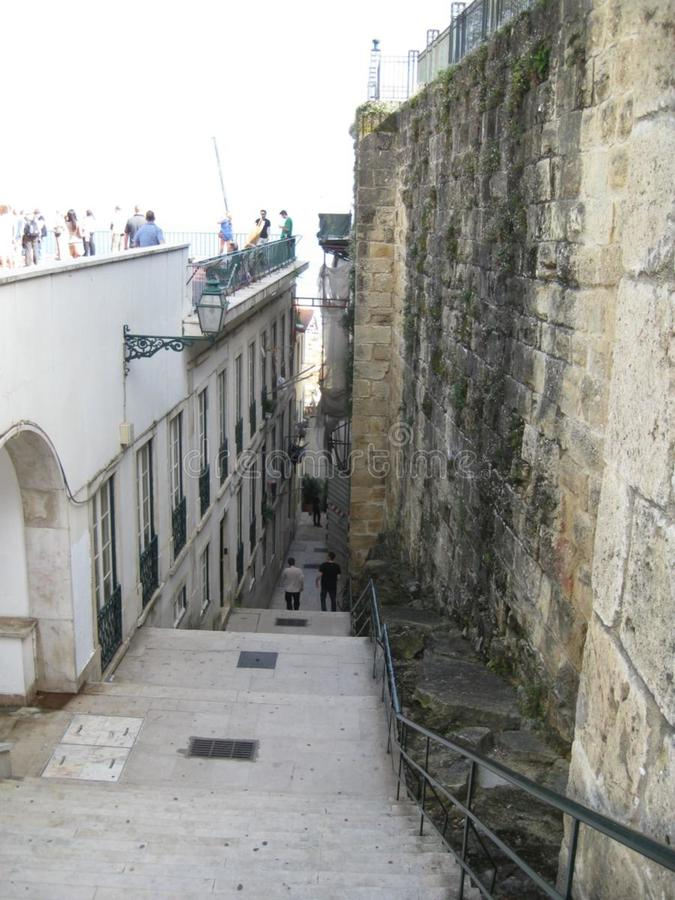 Narrow steps between buildings in old city stock image