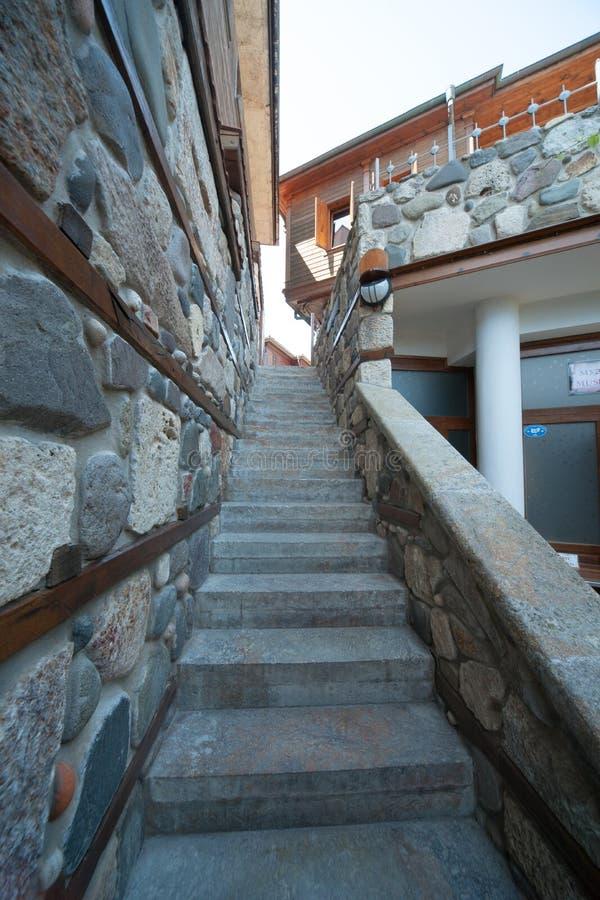 The narrow stone staircase on the waterfront in Sozopol in Bulgaria stock photo