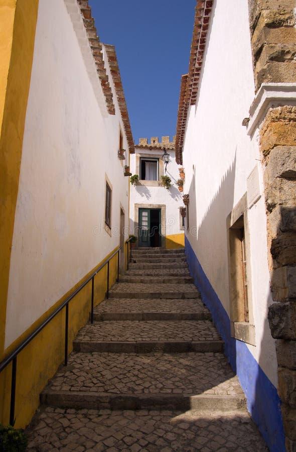 Narrow street, Óbidos stock image