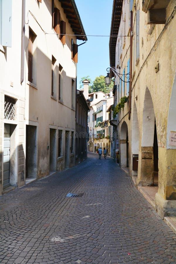 Narrow street in Asolo, Italy royalty free stock photography