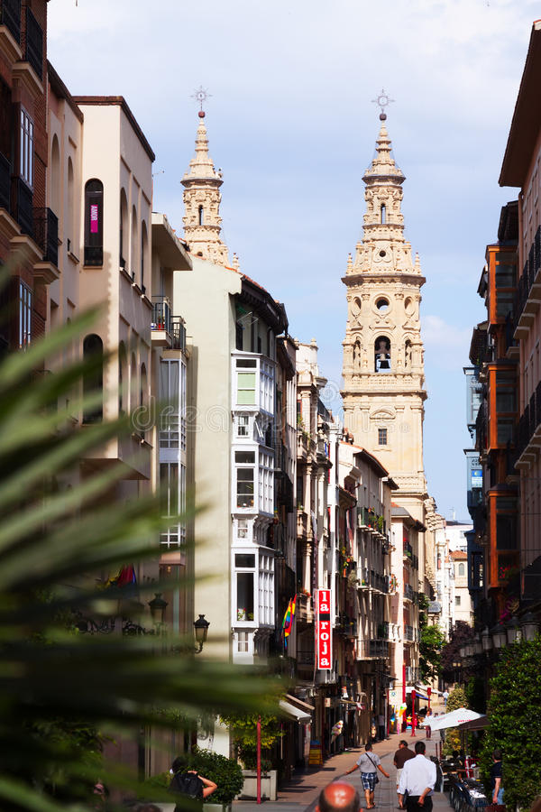 Narrow street with Bell tower of Cathedral. Logrono, Spain stock image