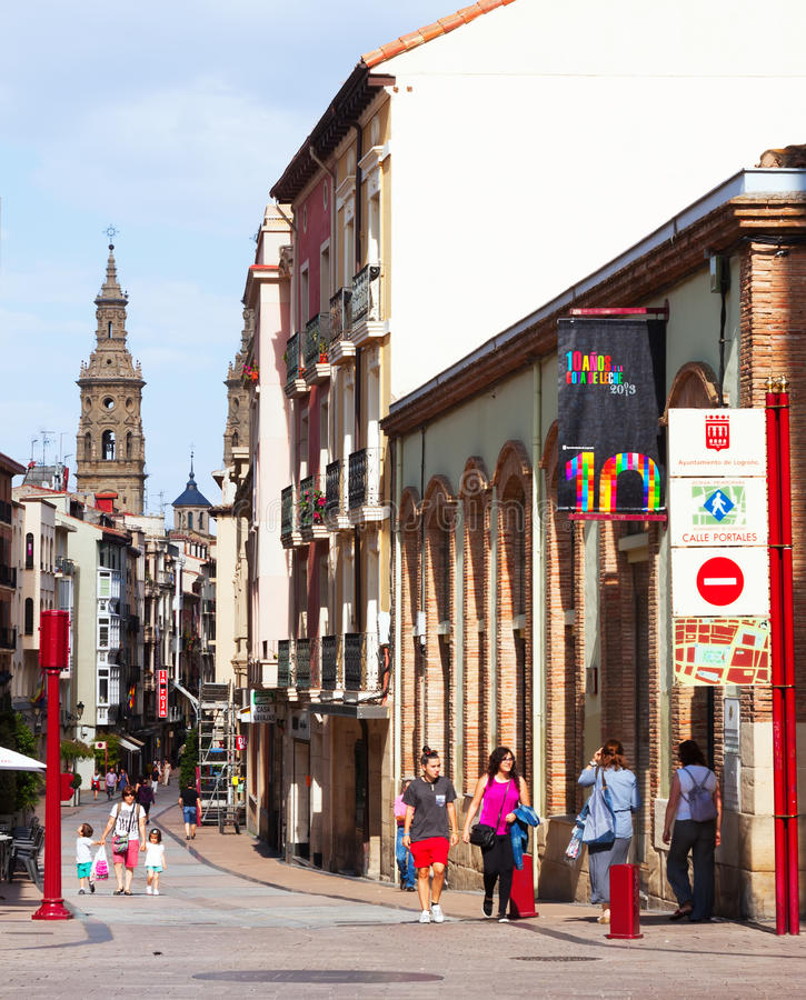 Narrow street with Bell tower of Con-Cathedral. Logrono royalty free stock photo