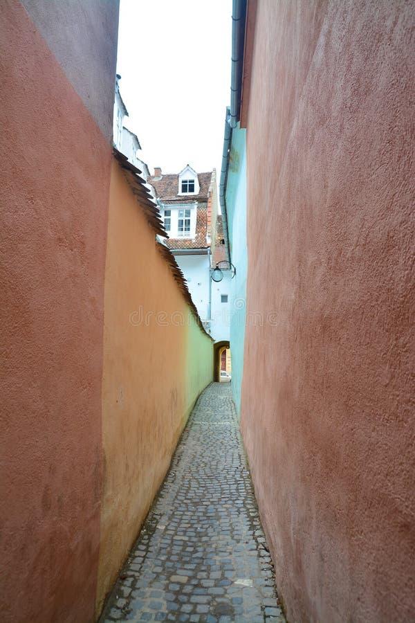 Narrow street in brasov, romania stock photos