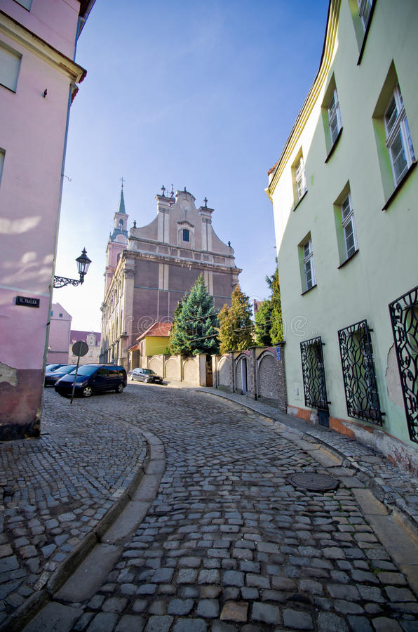 Narrow street in Brzeg, Poland. Old narrow street in Brzeg, Poland royalty free stock images