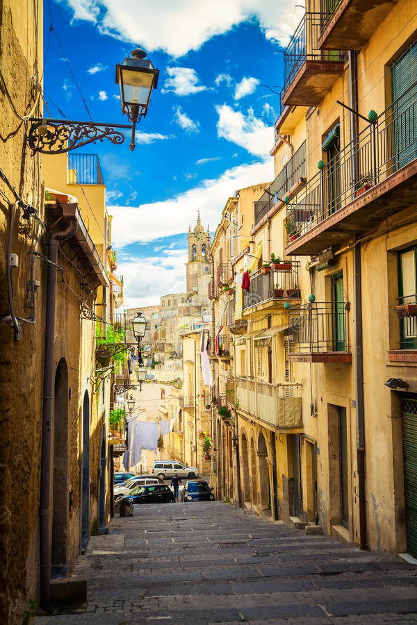 Narrow street of Caltagirone royalty free stock photography