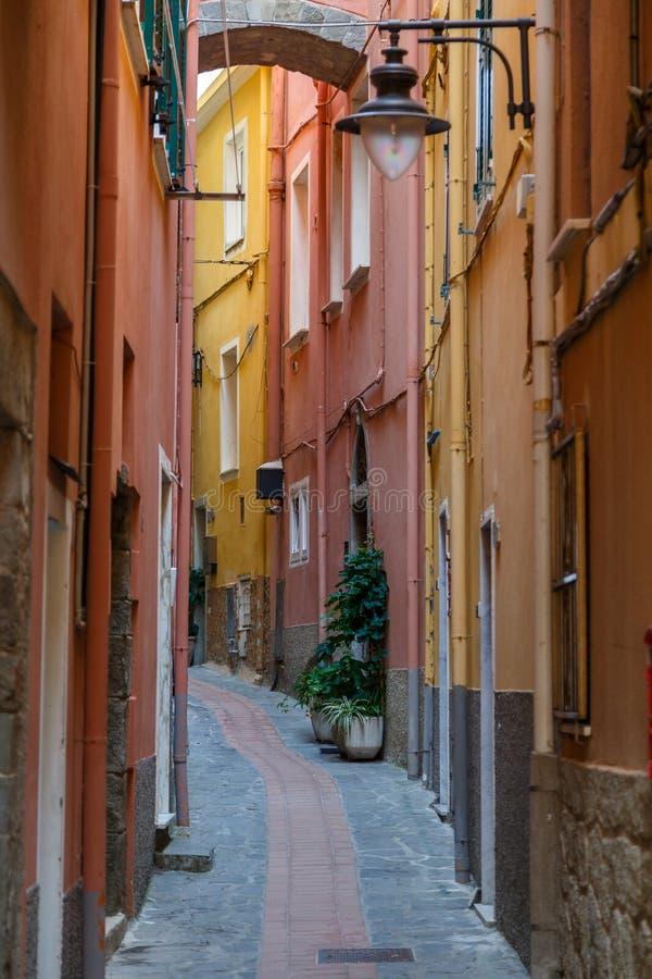 Narrow street in the centre of Manarola village, Cinque Terre land stock image