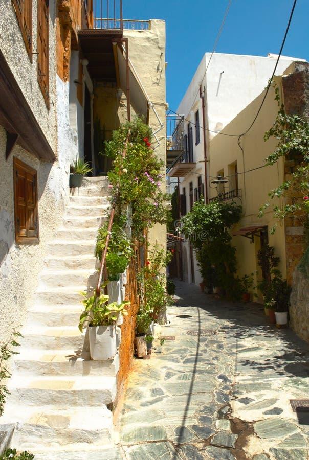Narrow street of Chania city. Narrow bent street of Chania city. Crete. Greece royalty free stock images