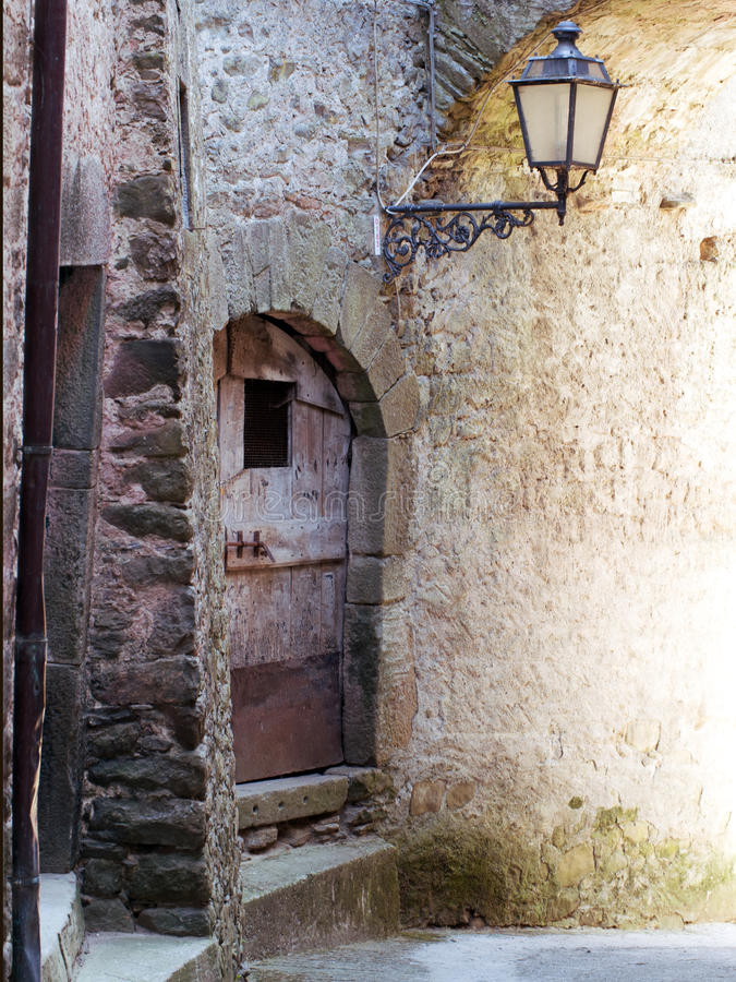 Narrow street detail, ancient village, Italy. royalty free stock images