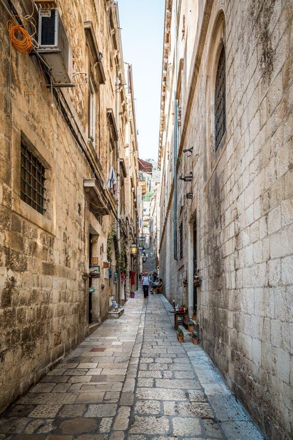 Narrow street in Dubrovnik. royalty free stock photo