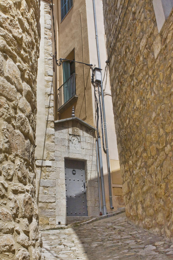 Narrow street in Girona royalty free stock photo