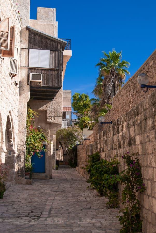 A narrow street in historic Jaffa , Israel stock image