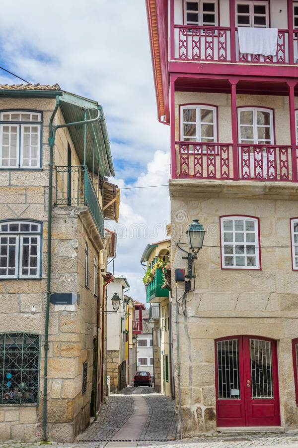 Narrow street in the historical center of Chaves. Portugal stock image