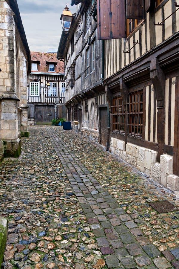 Narrow street in Honfleur stock photos