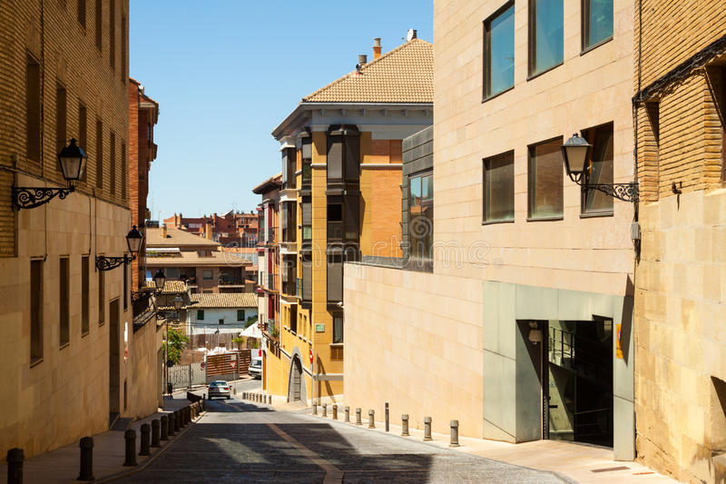 Narrow street of Huesca. Arago royalty free stock photography