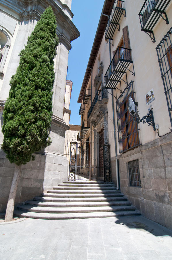 Narrow street in Madrid, Spain royalty free stock images