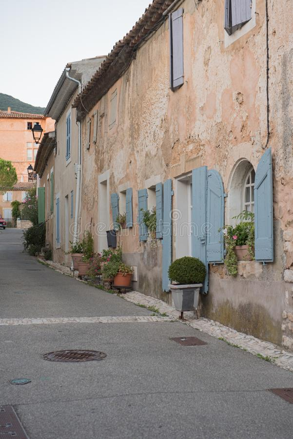 Narrow Street in the Medieval Village of Rustrel, France royalty free stock photo