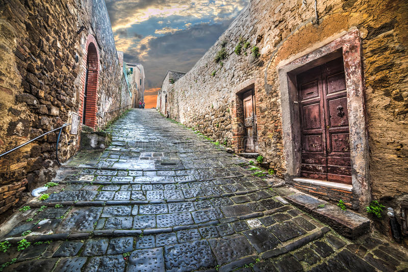 Narrow street in Montepulciano. Italy stock photos
