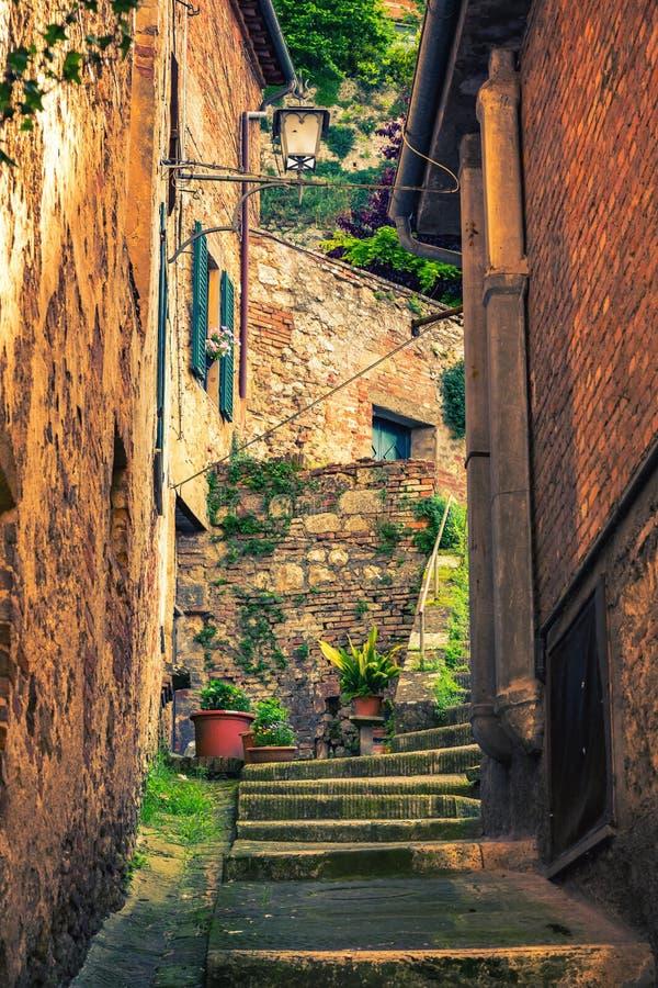 Narrow street in Montepulciano Tuscany, Italy stock image