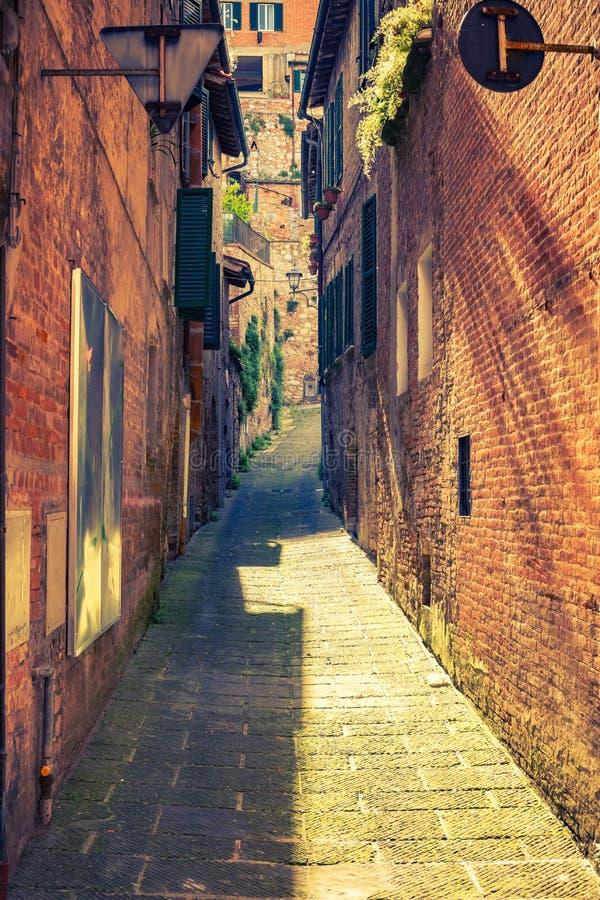 Narrow street in Montepulciano Tuscany, Italy royalty free stock images