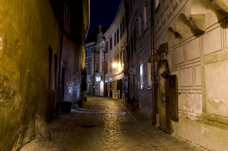 Narrow street at night, Cesky Krumlov