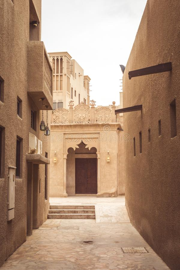 Narrow street in Old Dubai, United Arab Emirates. royalty free stock images