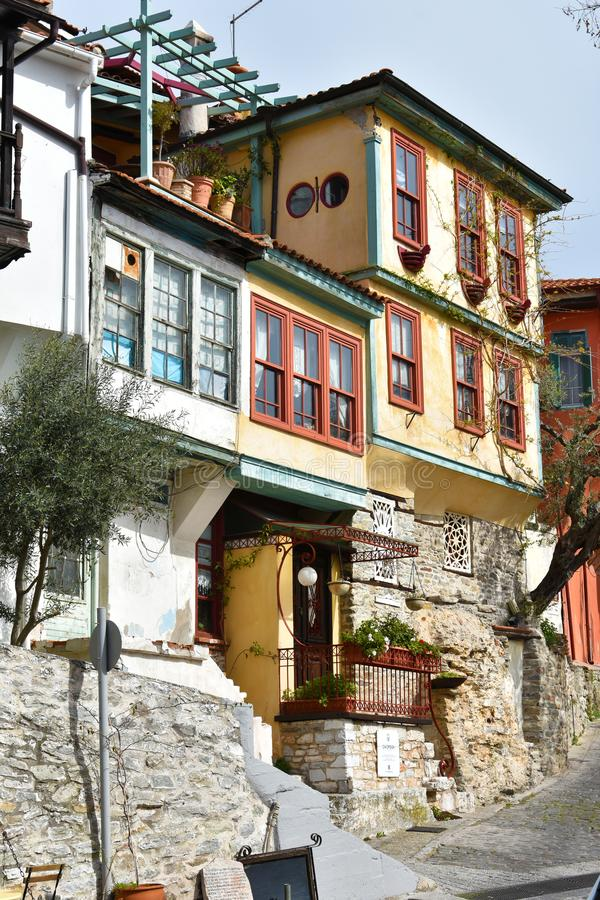 Narrow street in the olld town of Kavala stock images