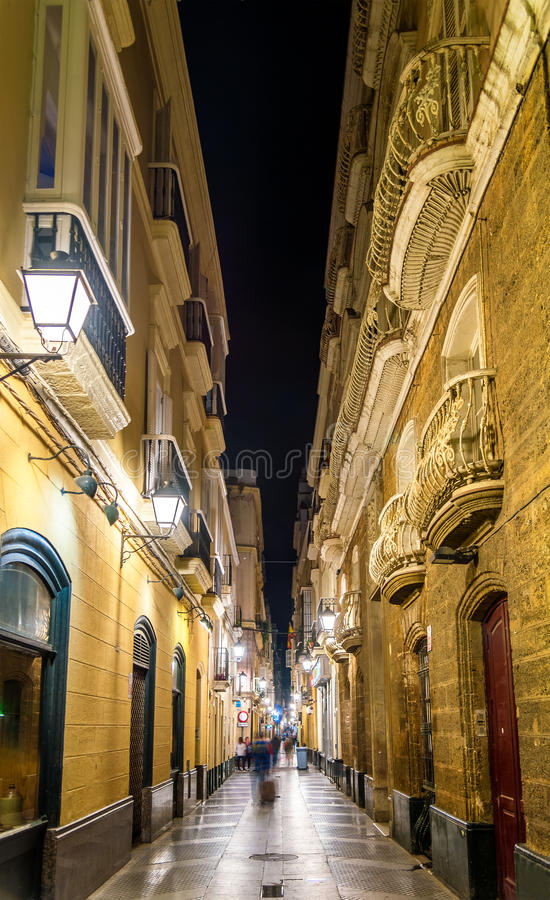 Narrow street in the old town of Cadiz - Spain royalty free stock image
