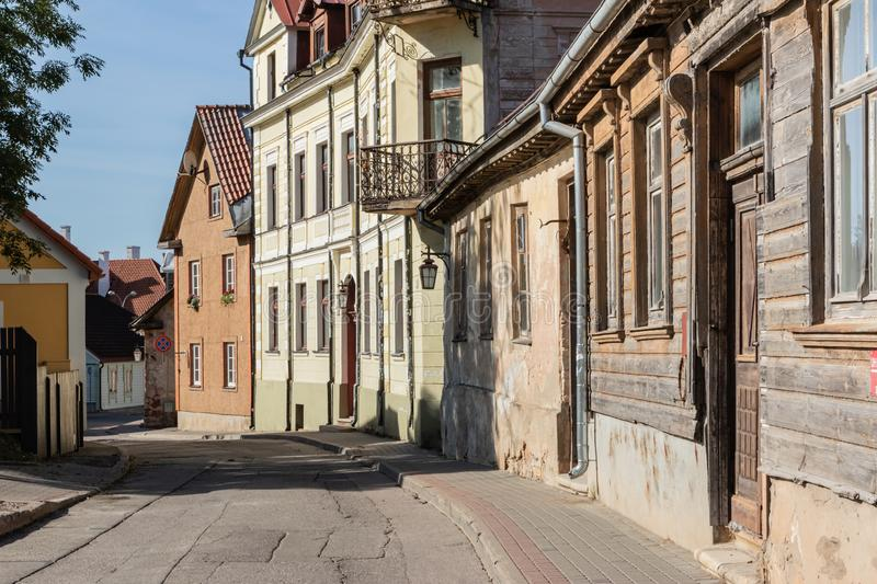 Narrow street in old town. Narrow street in Cesis old town royalty free stock photo