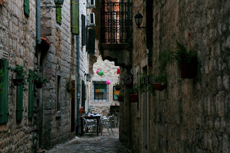 Narrow street in the old town of Kotor. Montenegro royalty free stock photo