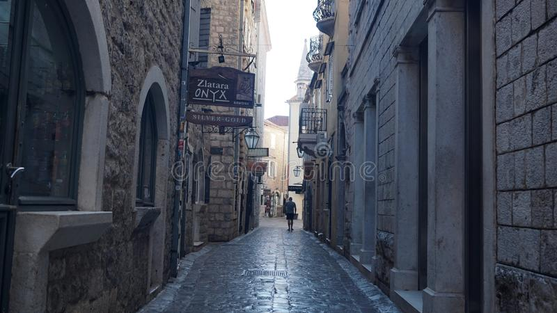 Narrow street of the old town. Montenegro. Budva royalty free stock photography