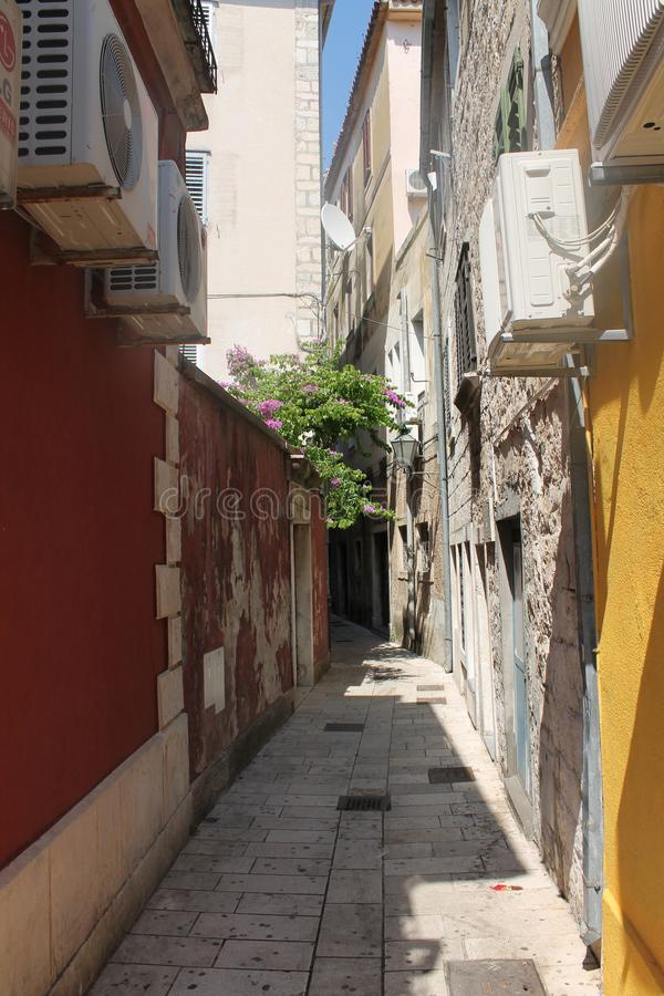 Narrow street in Omis Croatia royalty free stock photos