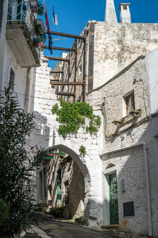 Narrow street in Ostuni, Puglia, Italy royalty free stock images