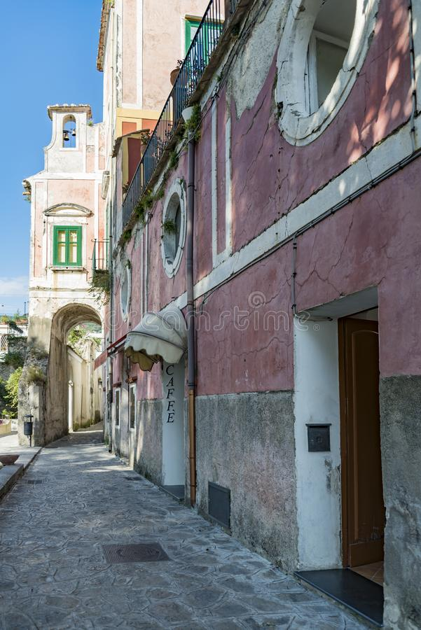 Narrow street in Ravello, Amalfi Coast, Italy royalty free stock photography