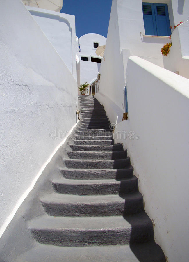 Narrow street with stairs stock images