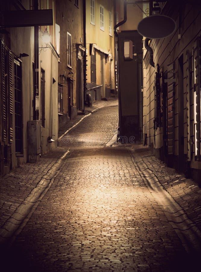 Narrow street in Stockholm stock photos