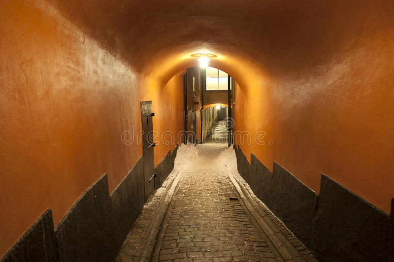 Narrow street in Stoclholm stock photos