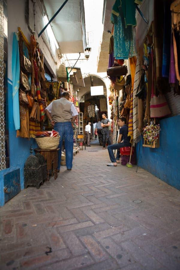 Narrow street of Tangier medina, Morocco royalty free stock photos