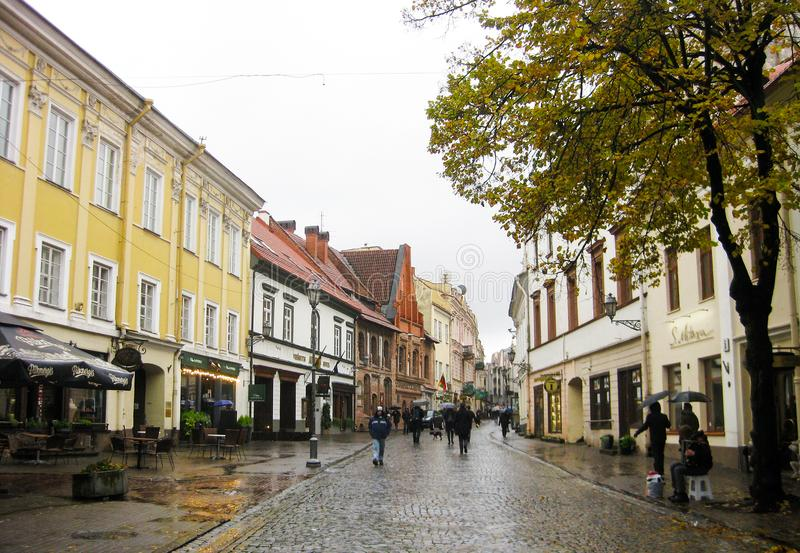 Narrow street in old town of Vilnius stock photography