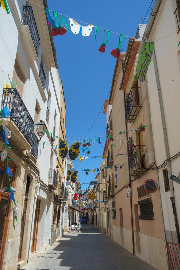 A narrow street in the old centre of Benissa, Costa Blanca, Spain. A narrow street typical of Benissa and many other towns of the Costa Blanca area, Spain stock images