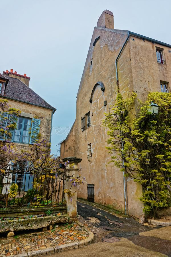 Narrow Street of Vezelay in Bourgogne Franche Comte of France. Narrow street of Vezelay in Avallon of Yonne department of Bourgogne Franche Comte region, France stock images