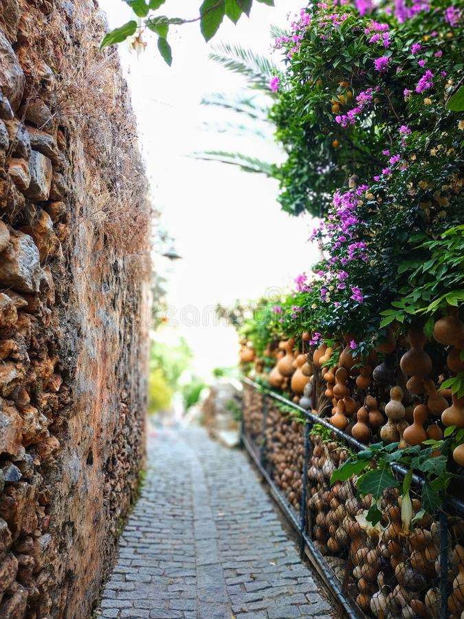 Street inside the fortress in Alanya. Narrow streets in an ancient fortress in Alanya, Turkey, keep history and mystery stock image