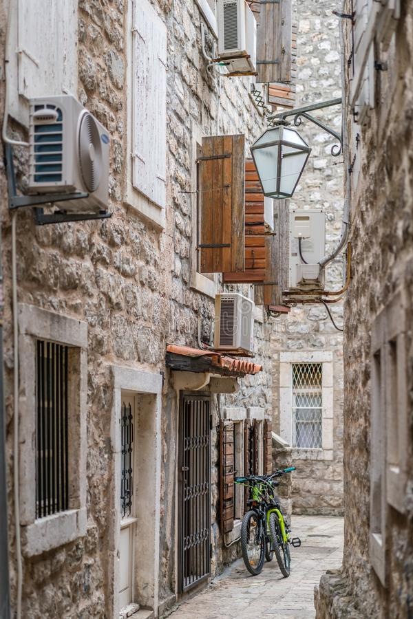 Narrow streets of Budva Old Town stock image