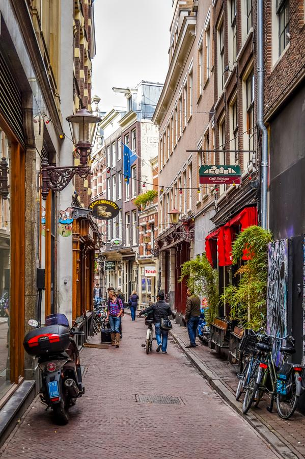 Narrow Streets in the city of Amsterdam, the Netherlands stock photography